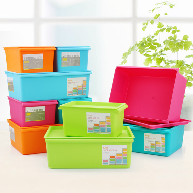 Storage New Candy Colored Plastic Storage Box With A Lid Fashion 39*28*