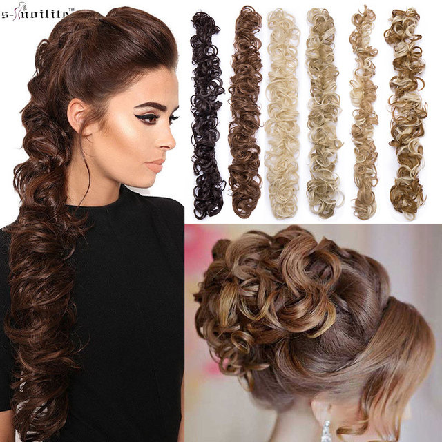 S Noilite 80cm Elastic Band Hair Chignon Updo Twining Hair Extension