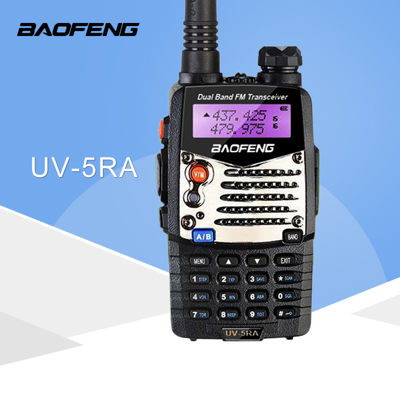 (1 stk) Baofeng UV5RA skinke tovejs radio walkie talkie dual-band transceiver (sort)