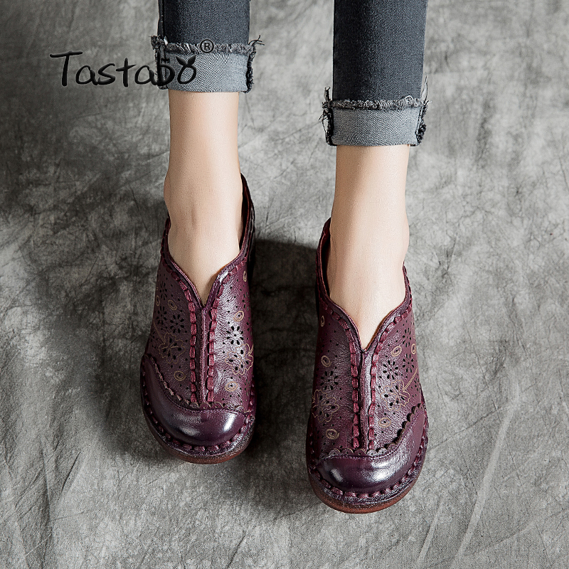 Tastabo Handmade leather women s shoes Purple red black flats shoes Openwork pattern Comfortable soft bottom