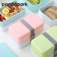 Pandapark 3 цвета 1Л двухслойный контейнер для хранения пищи микроволновая печь коробки для завтрака посуда Ланчбокс BPA бесплатно PPX001