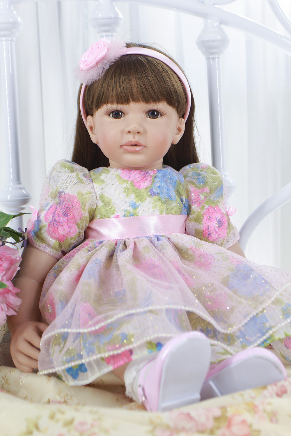 Pursue 24/60 cm New Silicone Reborn Toddler Princess Doll for Girls Best Birthday Christmas Gift Beautiful Colorful Baby Dress