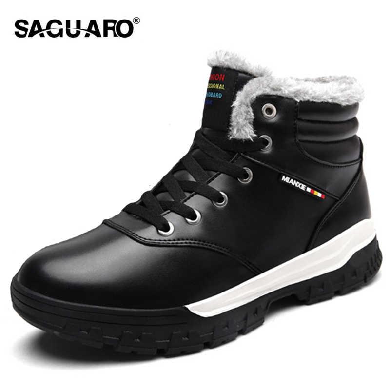 baa7722618f8 SAGUARO Winter Boots for Men 2018 Fashion Waterproof PU Casual Ankle Boots  Keep Warm Plush Cotton
