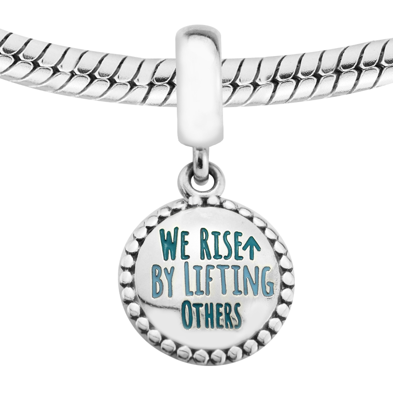 925 Sterling Silver We Rise By Lifting Others Charm Dangle Bead Fits for Pandora Bracelet Charm for DIY Making Fine Jewelry Gift