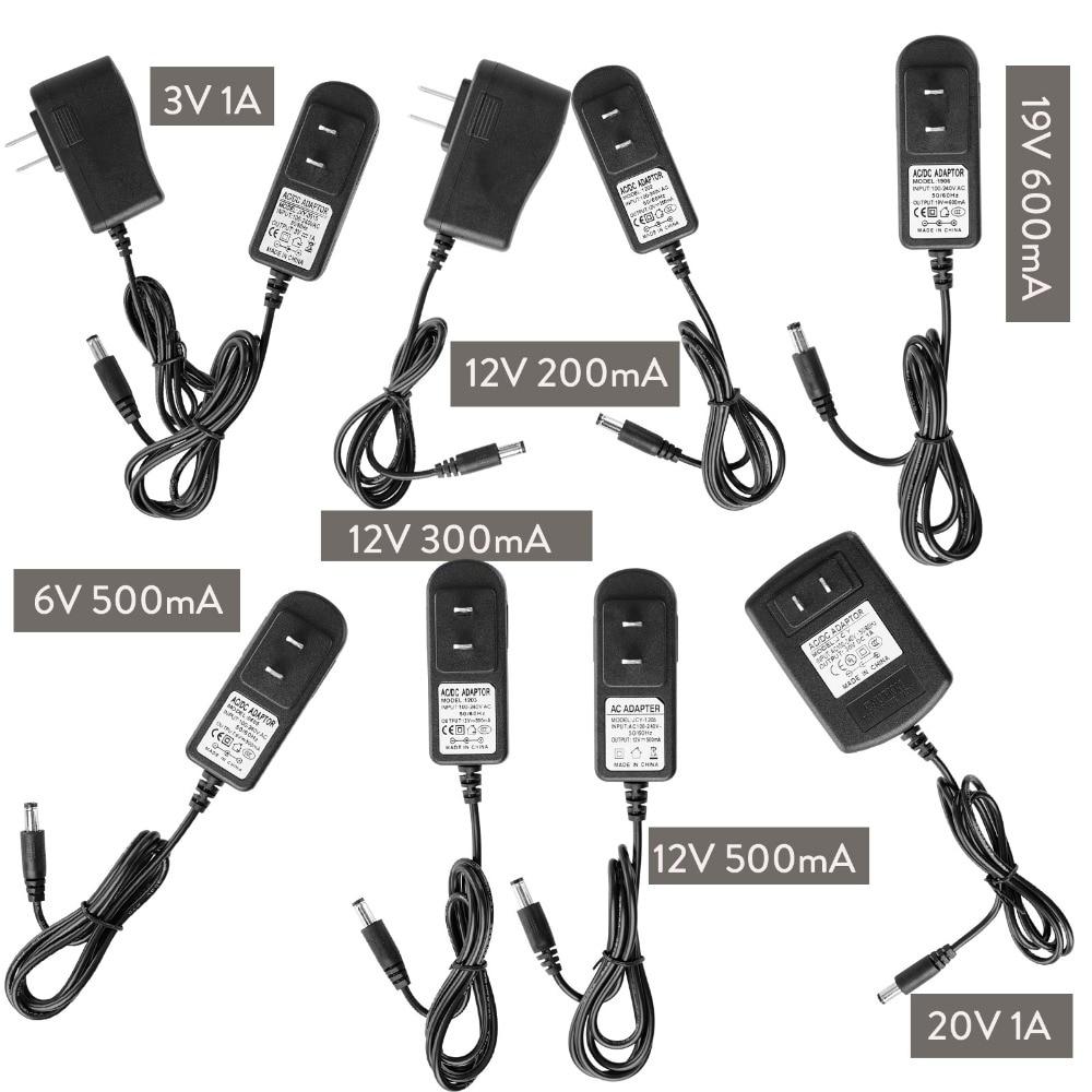 DC 12V 3V 6V 19V 20V US EU Plug Power Supply Adapter Transformer 1A 0.2A 0.3A 0.5A 0.6A For LED Strip Light Input 100-240V