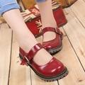 Moda 2016 Novas Mulheres Trepadeiras Pu Mulheres Apartamentos Plataforma Mary Jane com Tira No Tornozelo Senhoras Loafers Flats Sapatos Casuais