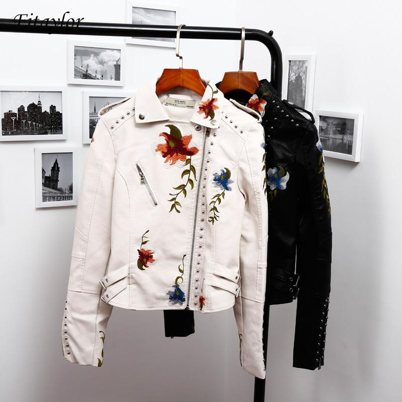 Fitaylor broderie Faux cuir veste femmes col rabattu Vintage noir moto veste femmes Floral imprimé Punk manteau