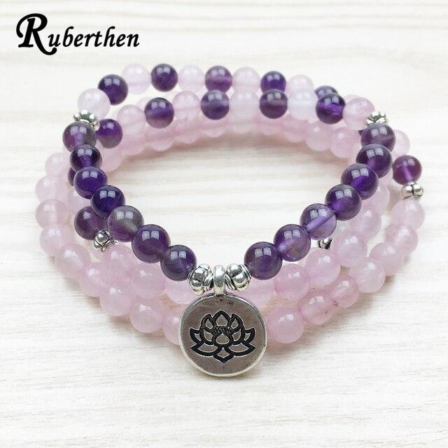 Ruberthen Designer Lotus Charm Bracelet 108 Mala Necklace 6mm Beads Rose Stone Jewelry Crystal Stone Yogi Bracelet Free Shipping
