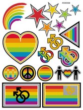 ASSADG06 Rainbow Big Tattoo Stickers Colorful Hearts Fall In Love Designer Flash Tattoos Glitter Temporary Fake Tattoo Taty
