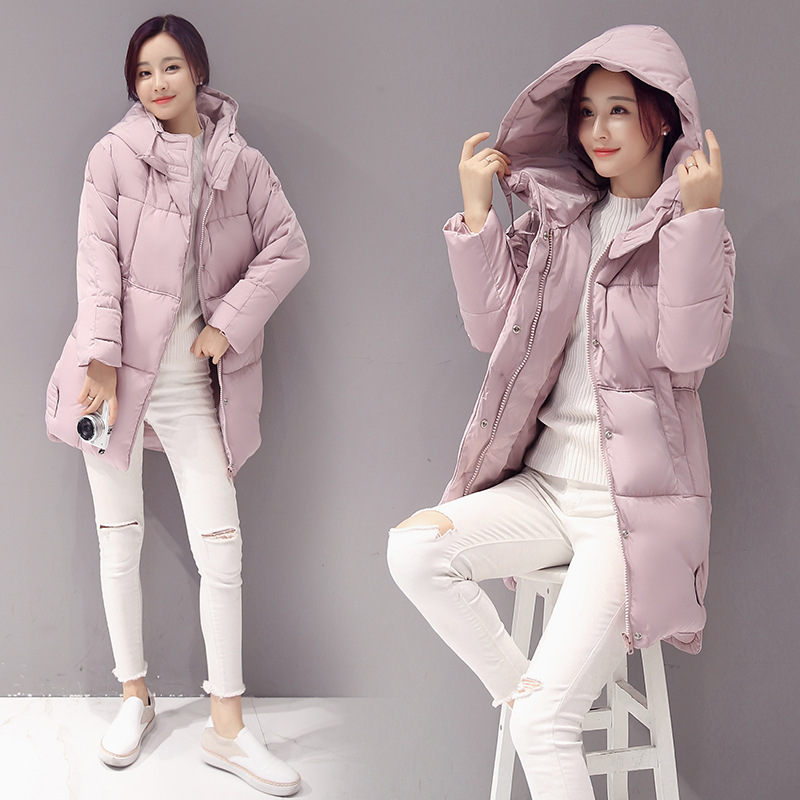 100% polyester fiber parka women in the winter of 2017 four-color  hooded woman winter jacket the woman in the photo
