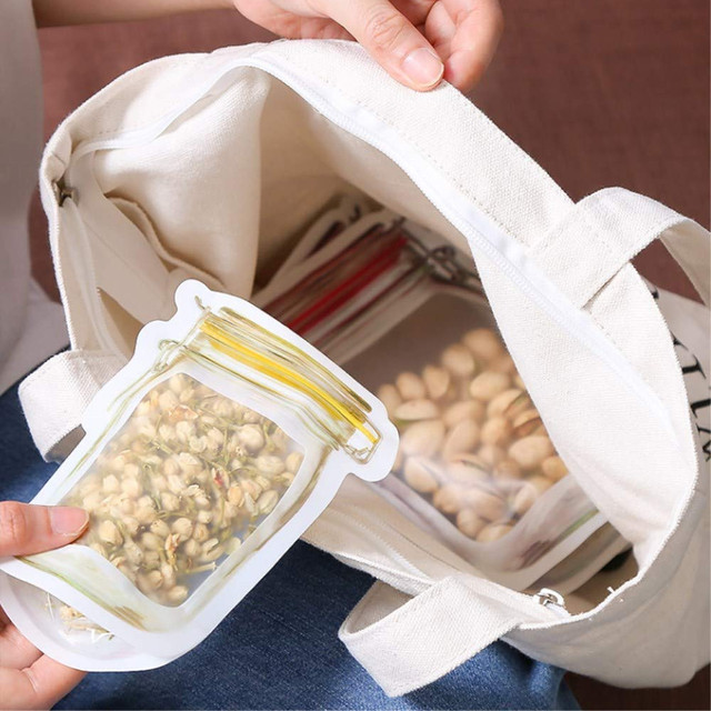 LMETJMA 12 Pieces Mason Jar Zipper Bags Reusable Snack Saver Bag Leakproof Food Sandwich Storage Bags for Travel Kids KC0216 6