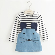Striped Patchwork Character Girl Dresses Long Sleeve Cute Mouse Children Clothing