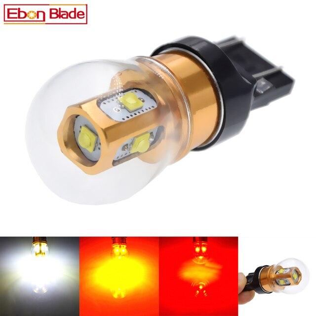 2 sztuk T20 W21W LED WY21W W21/5W 7440 7443 żarówki LED T25 3157 P27/7W chipy XBD lampa samochodowa biały czerwony bursztyn światła samochodowe LED 10V 30V DC