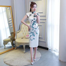 Traditional Chinese Cheongsam Women Silk Summer Dress Lady Ball Gown
