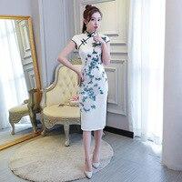 Traditional Chinese Cheongsam Women Silk Summer Dress Lady Ball Gown