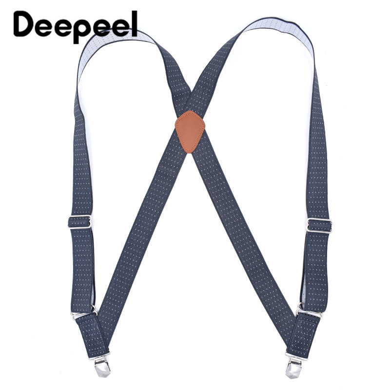 Deepeel 1pc 3.5*125cm Casual Men Suspenders Polyester Jacquard 2 Clips Suit Pants Shirt Stays Accessories Decoration Strap SP013