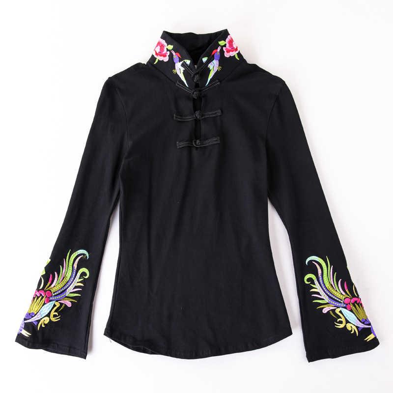 Cheongsam Топ традиционная китайская одежда для женщин с длинным рукавом размера плюс 5XL рубашка хлопковая винтажная одежда Топ Футболка Блузка рубашка