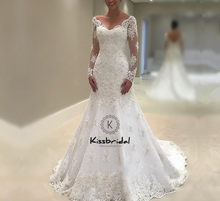Tuyệt vời New Mermaid Wedding Dresses 2018 V-Cổ Dài Tay Áo Tòa Train Appliques Tulle Bridal Gowns Robe de mariee(China)