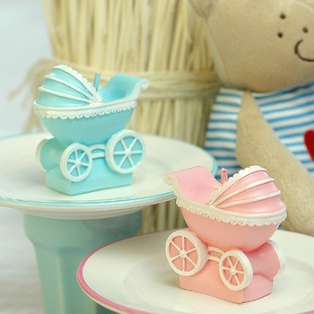 baby shower candle favor--baby stroller candles children's day party souvenir gift wedding favors and gifts creative 60pcs/lot