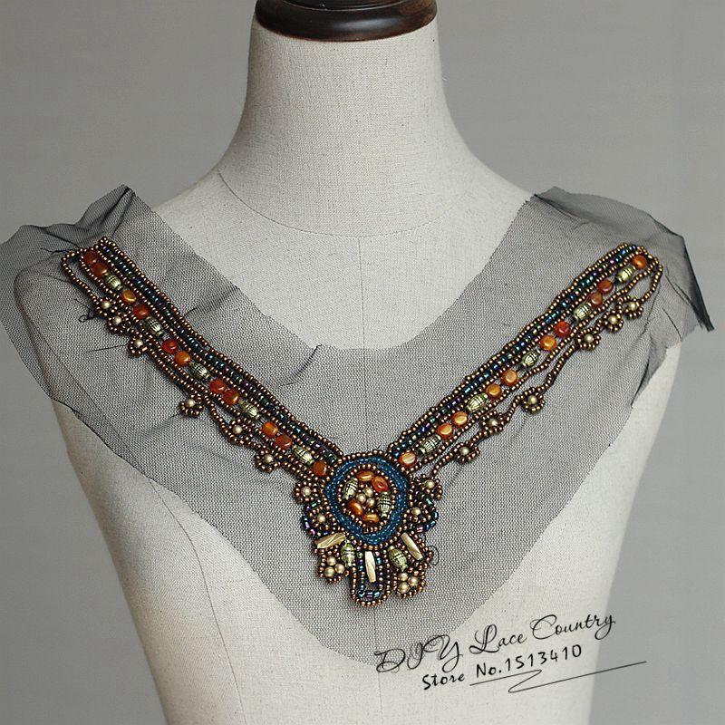 21*28CM 1 pedaço colar frisado applique, nu falso Colar, traje estilo vintage collar applique,