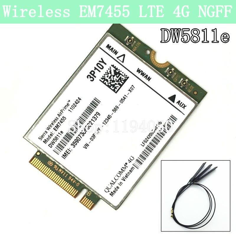 Беспроводной em7455 LTE 4 г NGFF модуль dw5811e 3p10y 300 м Para e7270 e7470 e7370 e5570 сем FDD/ tdd LTE 4 г cat6 gobi6000 + антенн