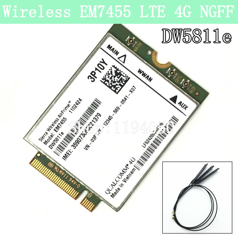 Wireless EM7455 LTE 4G NGFF Module DW5811E 3P10Y 300 M para E7270 E7470 E7370 E5570 Sem Fio FDD/TDD LTE 4G Cat6 Gobi6000 + ANTEN vakind usb cable 0 2m usb 3 1 usb c type c type c male to micro usb2 0 5pin male connector adapter data charging cable wire cord