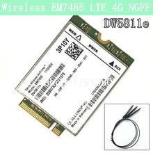 Sans fil EM7455 LTE 4G NGFF Module DW5811E 3P10Y 300 M par E7270 E7470 E7370 E5570 Sem Fio FDD/TDD LTE 4G Cat6 Gobi6000 + ANTENNES