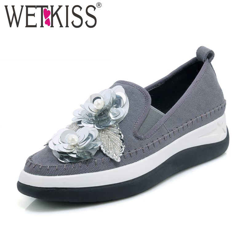 WETKISS 2018 New Arrival Cow Suede Women Flats Square Toe Platform Shoes Bling Slip On Footwear Spring Fashion Casual Girl Shoes tesilixiezi new spring summer fashion candy color bling flats platform shoes wegde breathable women casual shoes footwear
