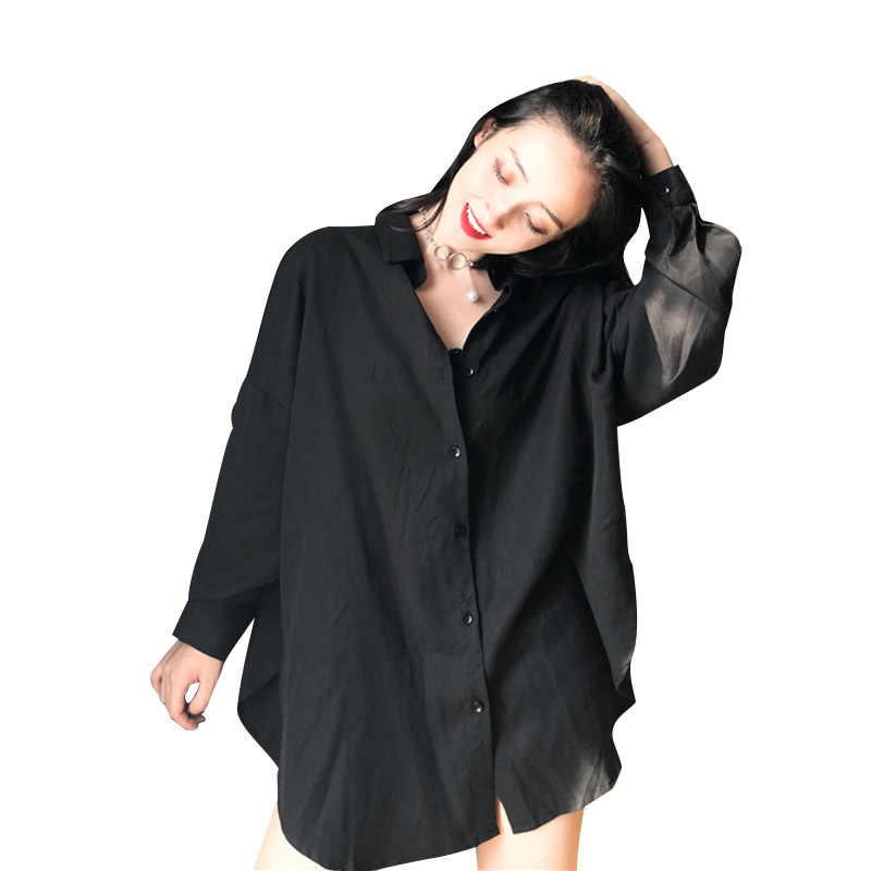 2019 летние новые черные женские блузки и рубашки свободные хлопковые винтажные женские рубашки с длинными рукавами ночной клуб сексуальные рубашки верхняя одежда топы