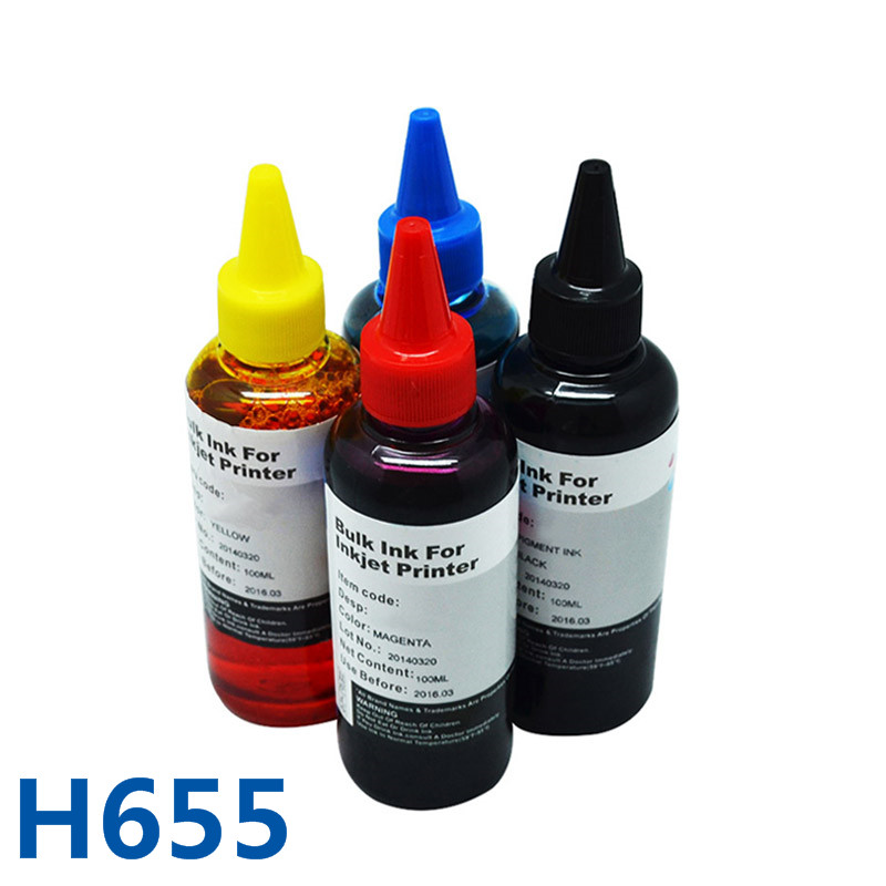 4 Colors For HP655 Vivid-Color Printing Bulk Ink &Dye Printer Ink For HP Deskjet Ink Advantage 3525 4615 4625 5525 6525 Ciss Ink 4 color for hp685 empty refillable cartridge with chip show ink level for hp deskjet ink advantage 3525 4615 4625 5525 6525