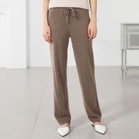 2018 новые осенние модные кашемировые брюки женские теплые свободные брюки однотонные 100% чистый кашемир зимние широкие брюки с эластичной ре
