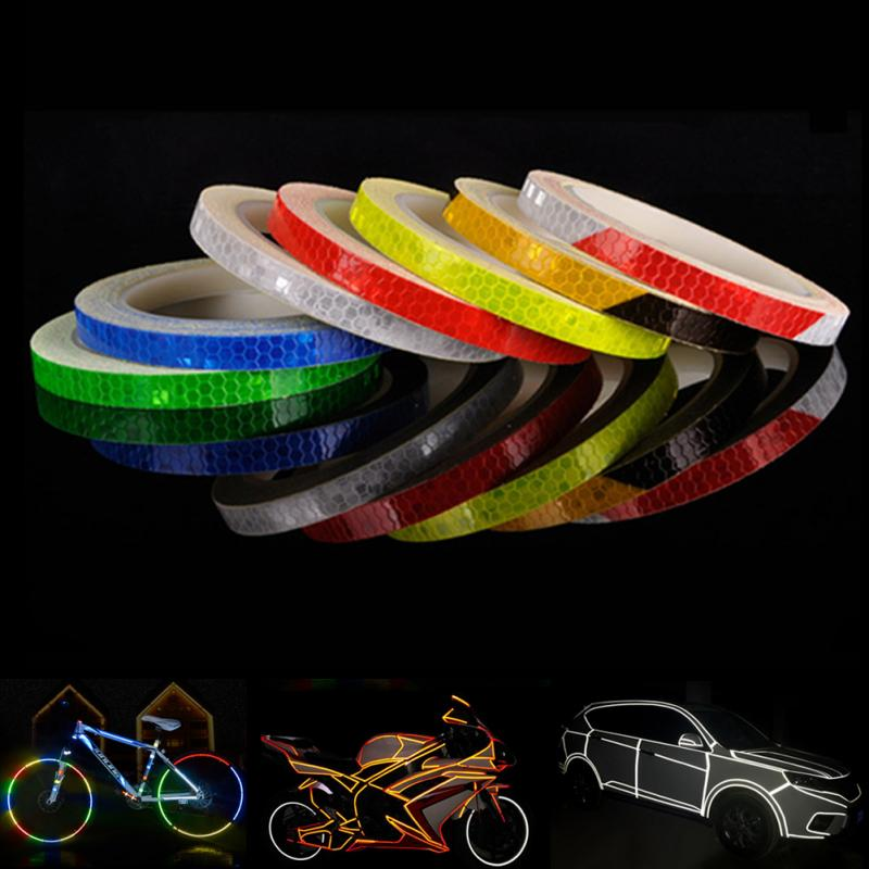 1CM*8M Fluorescent  Bike Bicycle Cycling Motorcycle Reflective Stickers Strip Decal Tape Safety Waterproof