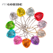 GUHD A Brand New KeyChain Music Box Girls Gift Mini Acrylic Wind Up Heart Shape Musical Box Key Chain Kid Beautiful Pendant