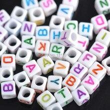 6 мм 400 шт разноцветные буквы кубик алфавита Акриловые Неоновые бусины для самостоятельного изготовления ювелирных изделий YKL0213