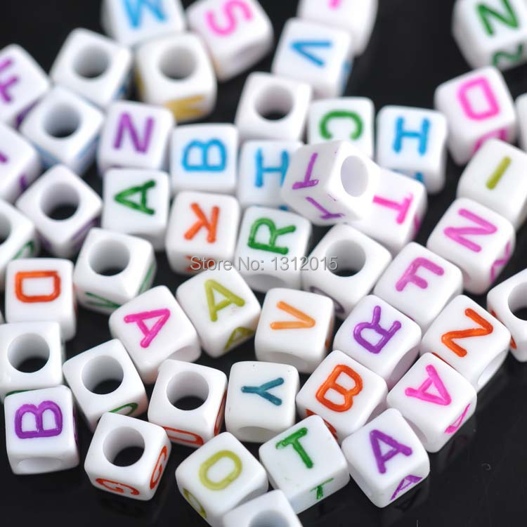 7mm 100pcs Mixed Color Letter Alphabet Cube Acrylic Neon Beads For Jewelry Making Diy Ykl0344x Jewelry & Accessories