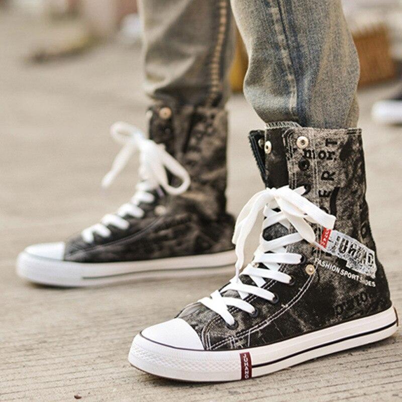 Été léger Denim toile chaussures mode hommes respirant haut baskets Graffiti décontractée chaussures plates Zapatos De Hombre