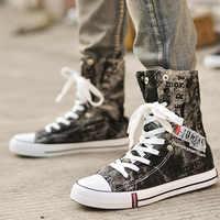 Zapatos De lona De mezclilla ligera De verano a la moda para Hombre, Zapatillas altas transpirables, Zapatos planos De Graffiti, Zapatos casuales De Hombre