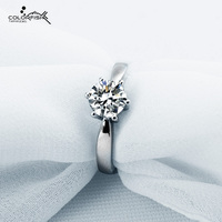 COLORFISH Classic Six Prongs Round Cut 1 Carat Sona Engagement Ring Genuine 925 Sterling Silver Wedding Ring Female Jewelry 2018
