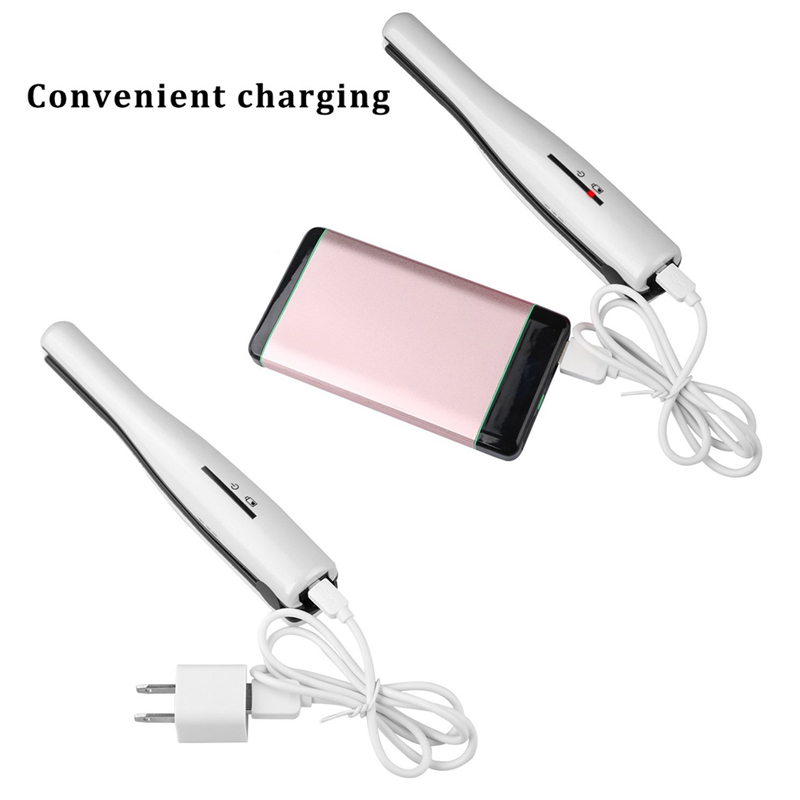 2 in 1 Cordless Hair Straightener and Curling Iron Portable Rechargeable Ceramic Flat Iron with USB Charging for Travel ckeyin 9 31mm ceramic curling iron hair waver wave machine magic spiral hair curler roller curling wand hair styler styling tool