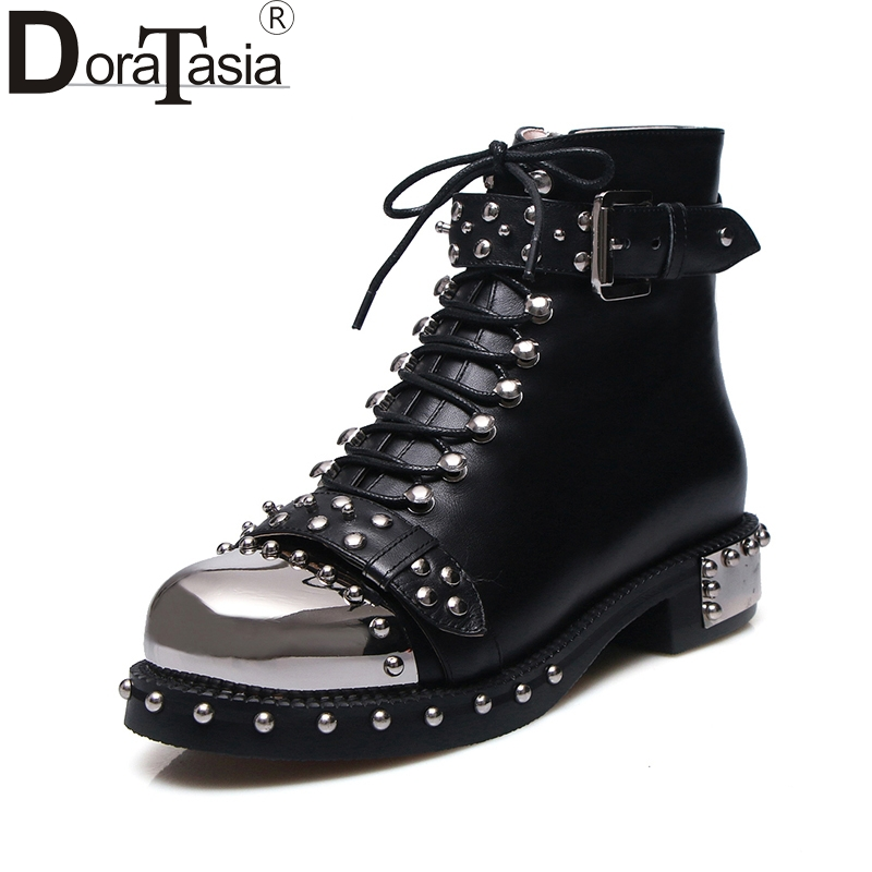 DoraTasia brand design genuine leather large size 34-43 rivets punk style martin boots black white buckles women shoes woman туфли warren tino dieffen 25 67 2015 a25 67