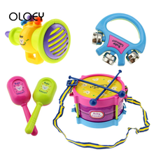 OLOEY Baby Gift Musical Instruments 5pcs/set Musical Toys Set Roll Drum Band Kits Kids Early Educational Toy Grasp Hand Bell Toy(China)