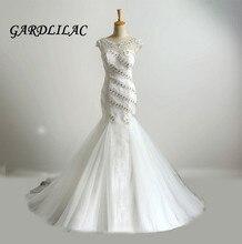 2019 White Mermaid Lace Wedding dress Scoop Beaded Cap Sleeve Dresses Backless Robe de marie Vestidos Noiva