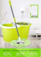 Thick stainless steel double drive rotary mop bucket free hand wash mop dry and wet mop wholesale home lazy