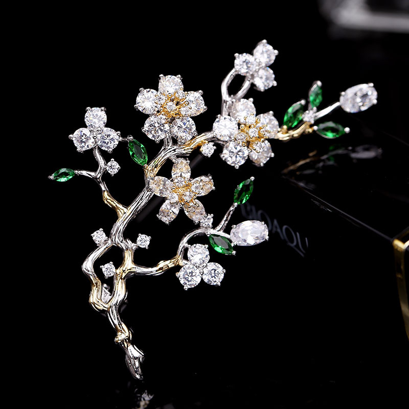New elegant plum blossom flower cubic zirconia brooches pin lady scarf buckle wedding jewelry accessory for women HR04091 12pcs lot wholesale rhinestone flower brooches for women wedding bridal jewelry collar suit scarf decoration accessory broches