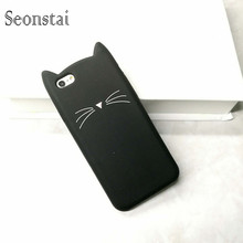 Rubber Soft Case for iphone 6 6s 3D Cute Black Cat Ears Beard Phone Cases For iphone 6Plus Silicone Cartoon Cover Funda Hot!
