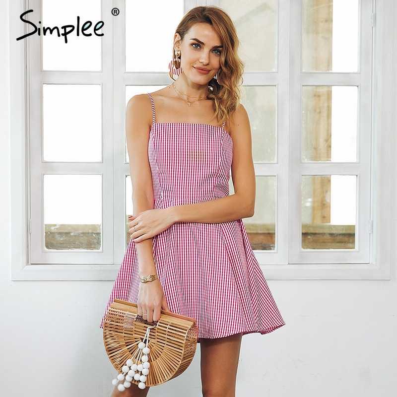 Simplee сарафан клетчатое платье мини женская летняя с высокой талией платье Пляжное Платье vestidos de festa Короткое платье женское 2018