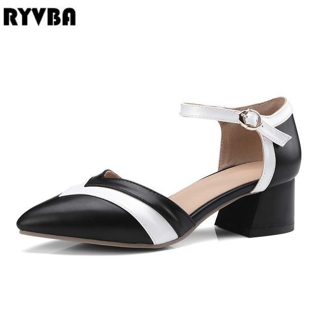 567c98755ba4 RYVBA 2019 модная пикантная Женская летняя обувь на толстом среднем  каблуке; женские ...