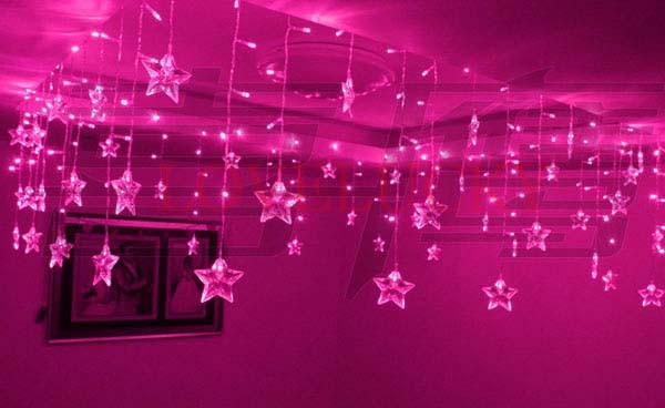 M Bulbs Pink Luminarias P Pearl Stars LED String Curtain - Pink fairy lights for bedroom
