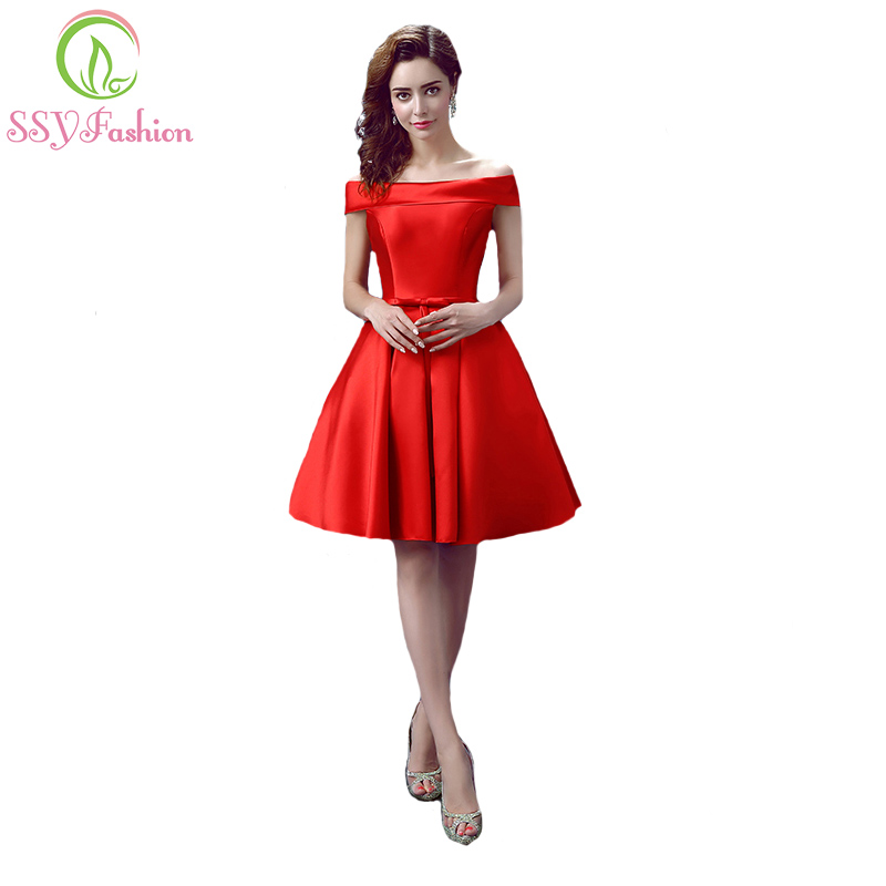 Robe De Soiree New SSYFashion Simple Sleeveless Satin Short Bridesmaid Dresses A-line Sexy Bride Party Gown Custom Formal Dress