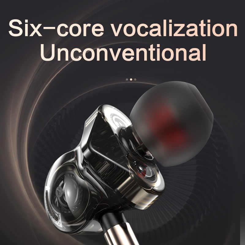 سماعات أذن QKZ CK10 مزودة بميكروفون 6 سماعات ديناميكية لوحدة السائق سماعات ستيريو رياضية HIFI مزودة بمضخم للصوت سماعات شاشة